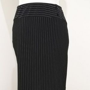 Black & white pinstriped long skirt